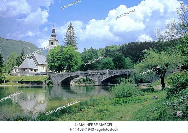 Slovenia, Bohinj village, bridge, Sveti Janez church, Saint John the Baptist church, Ribcev Laz district, Sava Bohinjs