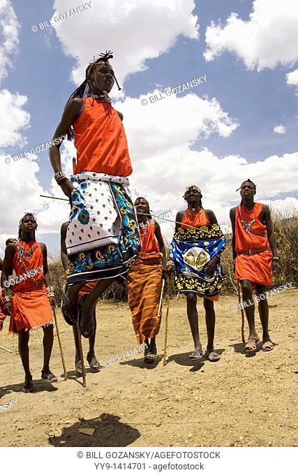 Maasai Warriors Jumping - Masai Mara National Reserve, Kenya