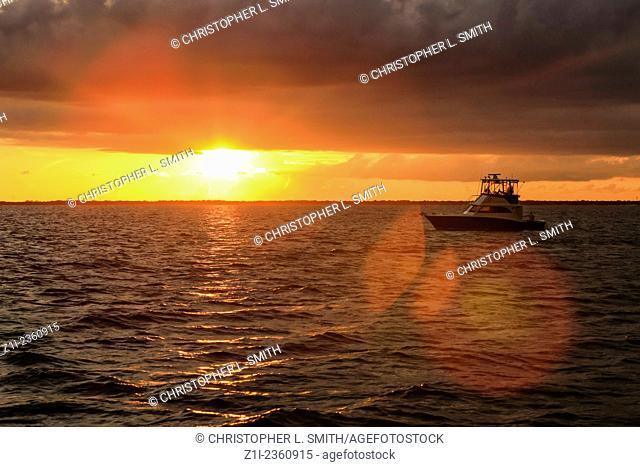 Sunset over the Peace River Estuary around Port Charlotte and Punta Gorda FL