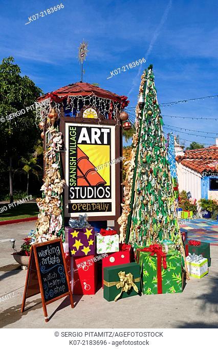 Spanish Village at Christmas, Balboa Park, San Diego, California, USA