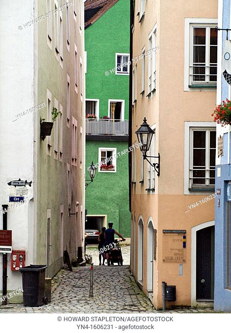 Narrow alley in Passau, Germany