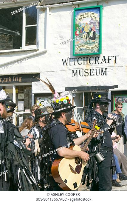 Hunters Moon Morris group from Essex dancing in Boscastle Cornwall