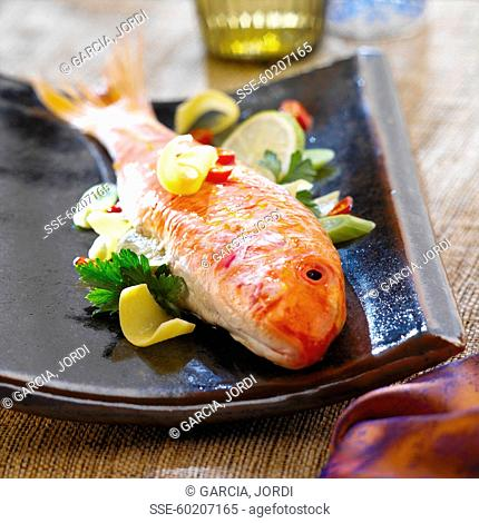 Red mullet with ginger and vegetables