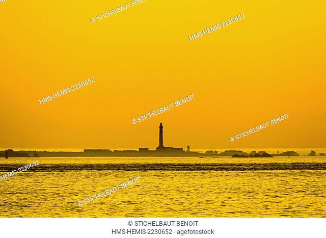 France, Finistere, Iroise Sea, Cap Sizun, Plogoff, Sein Island at sunset seenn by the Pointe du Van