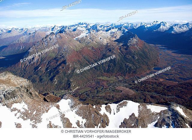 Aerial view of Tierra del Fuego National Park, mountains and lakes, Tierra del Fuego, Andes, Argentina