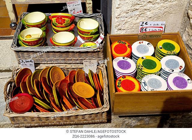 Sale of Tabelware in a Souvenir Shop in Les Beaux, Provemce, France