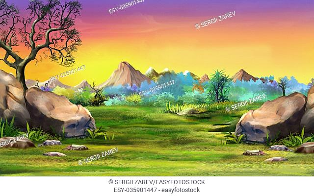 Digital painting of the landscape with big stones and mountains. Summer day view with a stones, trees and mountains. Long shot