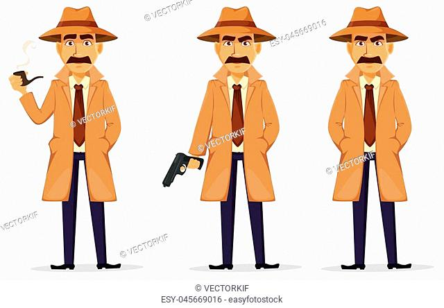 Detective in hat and coat. Set of handsome cartoon character with smoking pipe, with a gun and standing with hands in pockets