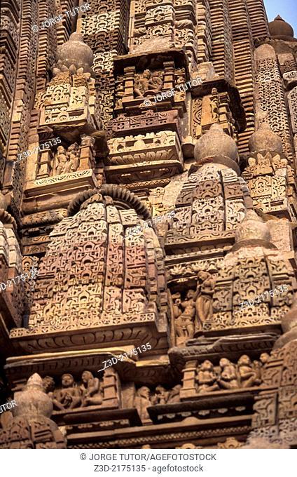 Sculptures in Khajuraho Temples Southern, Parsvanath Adinath. Madhya Pradesh. India