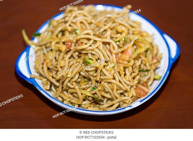 Close-up of mixed oats noodles, HohHot, Inner Mongolia, China