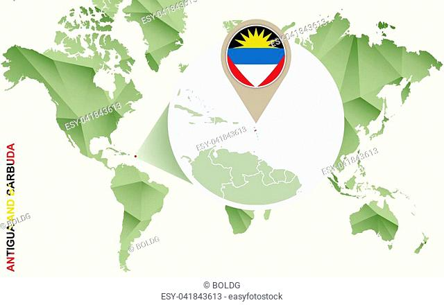 Infographic for Antigua and Barbuda, detailed map of Antigua and Barbuda with flag. Vector Info graphic green map