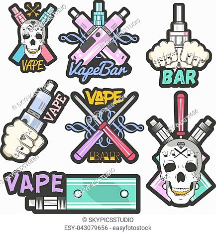 Vector colorful set of vape bar stickers, banners, logos, labels, emblems or badges. Vintage style electronic cigarette and skulls