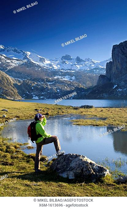 woman in Ercina lake and mountain range in Picos de Europa National Park, Asturias, Spain, Europe