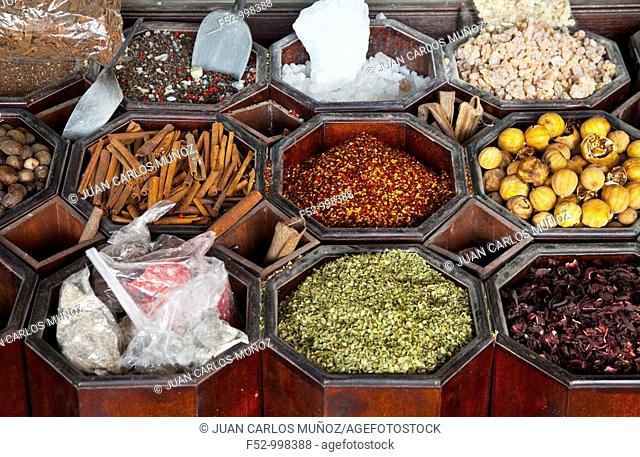 Souk spices. Dubai Emirate. EAU. Persian Gulf. Arabia