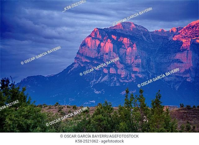 Mountain Rock Sunset at the highest peak of the Sierra Ferrera of Huesca