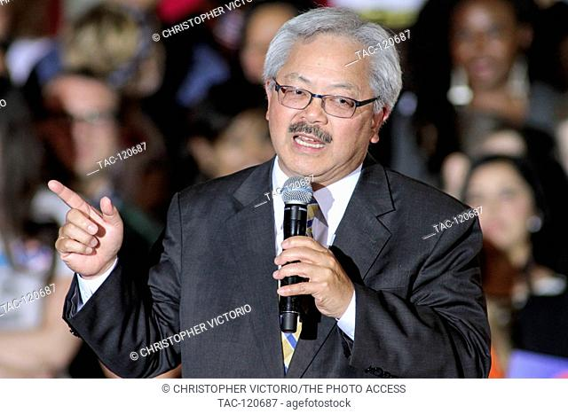 SAN FRANCISCO, CA- MAY 26: San Francisco Mayor Ed Lee speaks at a campaign rally for Democratic Presidential Candidate Hillary Clinton at The Hibernia Bank on...