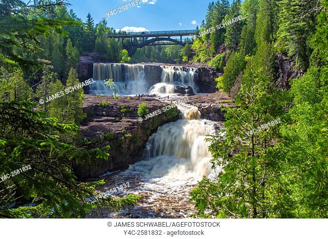 Waterfalls on Gooseberry River in Gooseberry State Park on the north shore of Lake Superior in Minnesota