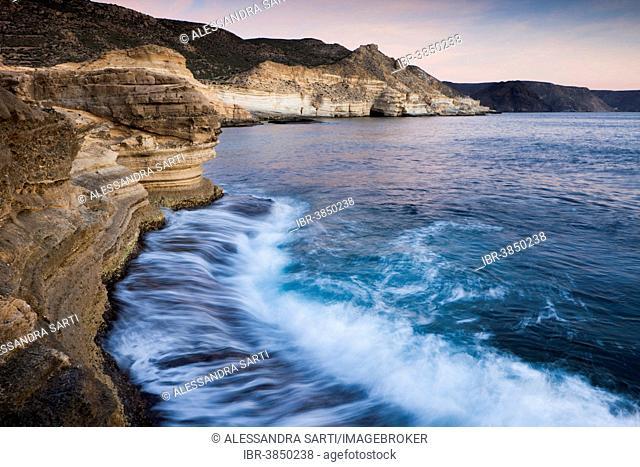 Coastline in the Cabo de Gata-Nijar Natural Park, biosphere reserve, Almería, Andalusia, Spain