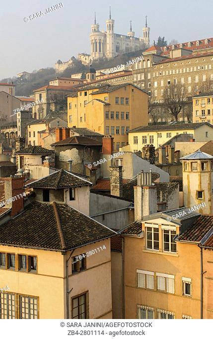 Old Town UNESCO World Heritage Site and view of Notre-Dame de Fourvière, Lyon, France, Europe