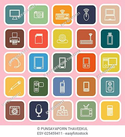 Gadget line flat icons on pink background, stock vector