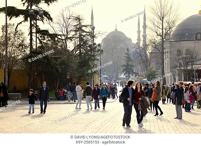 Sultan Ahmed Mosque aka The Blue Mosque aka Sultan Ahmet Mosque. Istanbul, Turkey. Seen from Hagia Sophia