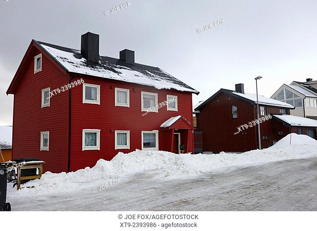 traditional red painted wooden house Honningsvag finnmark norway europe