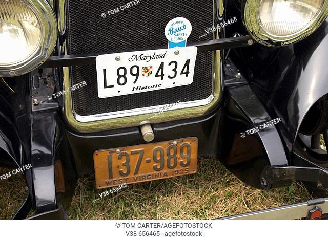 Tags on a historic car