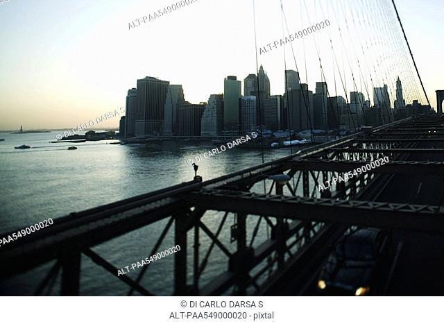 View of lower Manhattan from Brooklyn Bridge, New York City