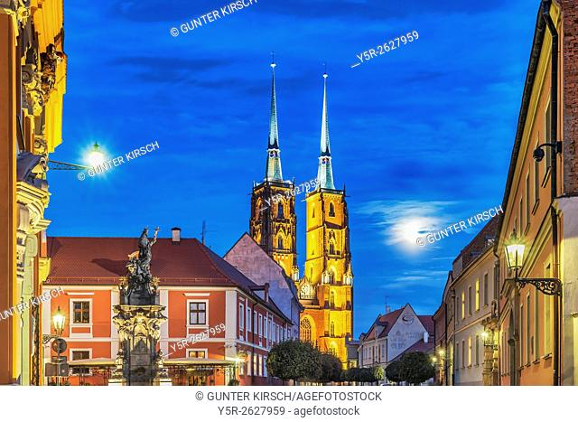 The Wroclaw Cathedral is located on the Cathedral Island (Ostrow Tumski), Wroclaw, Lower Silesia Voivodeship, Poland, Europe