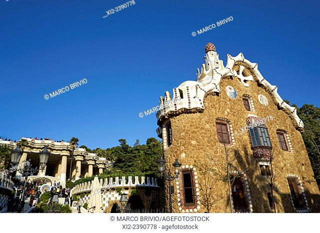 The Park Guell is a public park system composed of gardens and architectonic elements located on Carmel Hill, in Barcelona Spain