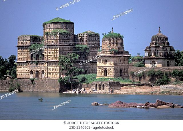Cenotaphs or chhatris at the banks of river Betwa, Orchha Madhya Pradesh India