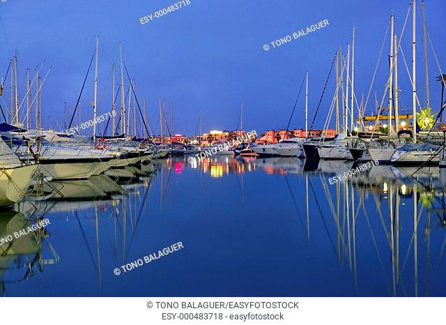 Beautiful blue marina in Mediterranean sea in the early night