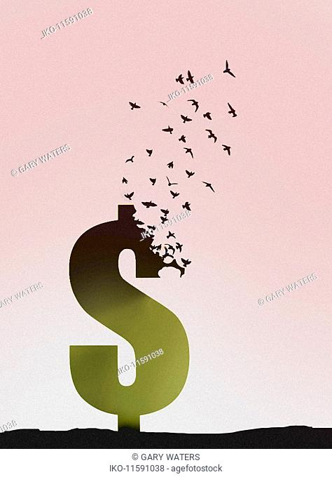 Flock of birds flying away from breaking up dollar sign