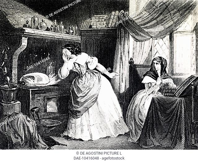 Affair of the Poisons, the laboratory of Catherine Deshayes, known as La Voisin (Paris, 1640-1680), engraving, 19th century. France