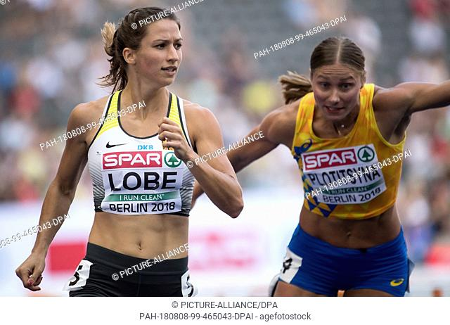 08.08.2018, Berlin: Track and Field: European Championships in the Olympic Stadium: 100m Hurdles, Preliminary, Women: Ricarda Lobe (l) from Germany will finish...