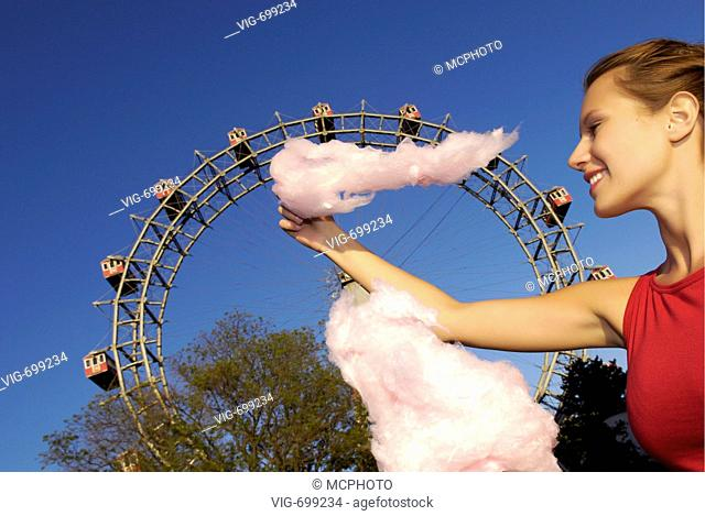 amusement park Prater Vienna, young woman with candy floss, Giant Ferry Wheel, Austria, Vienna, 2. district, Vienna - Prater  - Wien - Prater, AUSTRIA