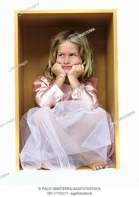 Girl dressed in box