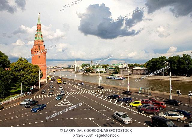 Russia. Moscow. Moscow River and corner of the Kremlin