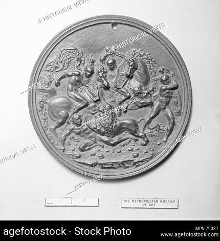 Lion Hunt. Artist: Moderno (Galeazzo Mondella) (Italian, Verona 1467-1528 Verona); Date: 16th century; Culture: Italian; Medium: Bronze; Dimensions: Diameter: 3...
