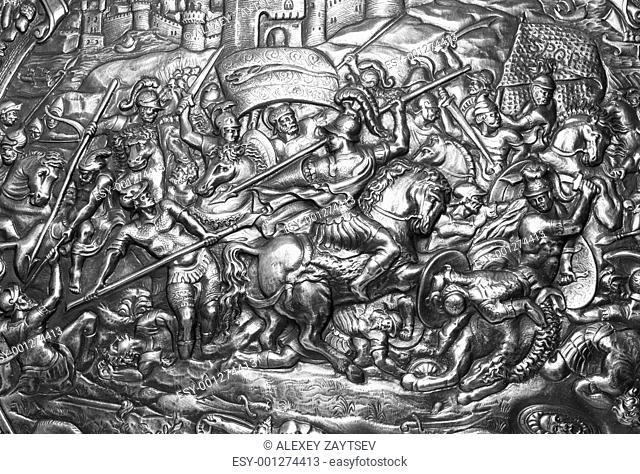 Ancient warrior shield with Carthago battle pattern