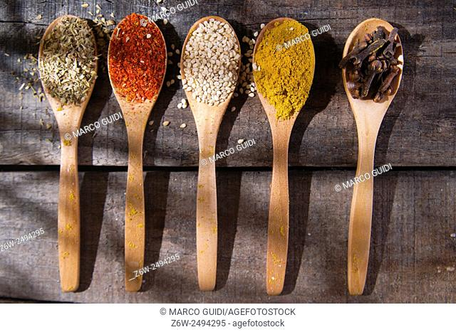 Presentation of mixed spices needed for international cuisine