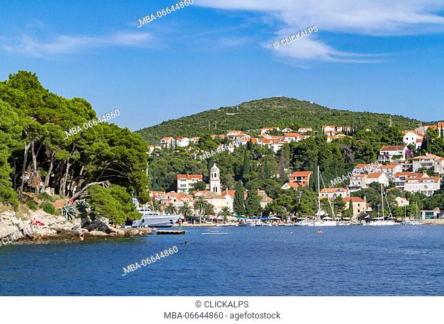Cavtat village and harbor, view from the sea (Konavle, Dubrovnik, Dubrovnik-Neretva county, Dalmatia region, Croatia, Europe)
