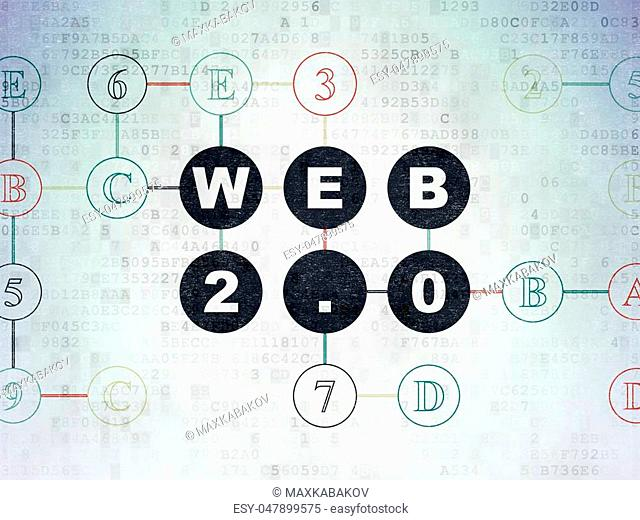 Web development concept: Painted black text Web 2.0 on Digital Data Paper background with Hexadecimal Code