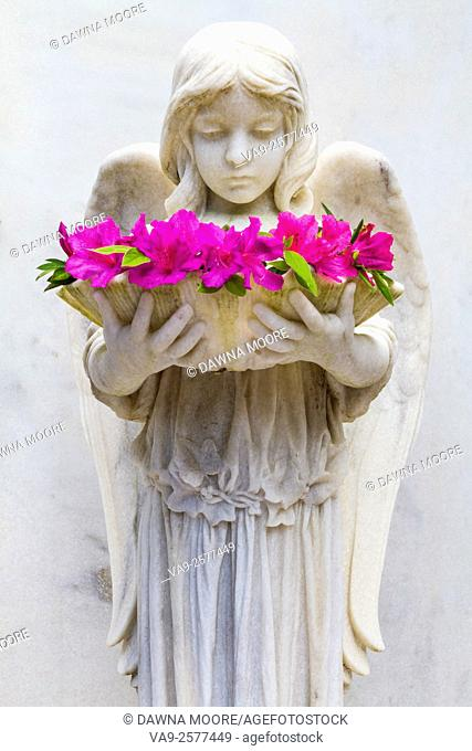 The Shell Girl with Azaleas, Bonaventure Cemetery, Savannah, Georgia