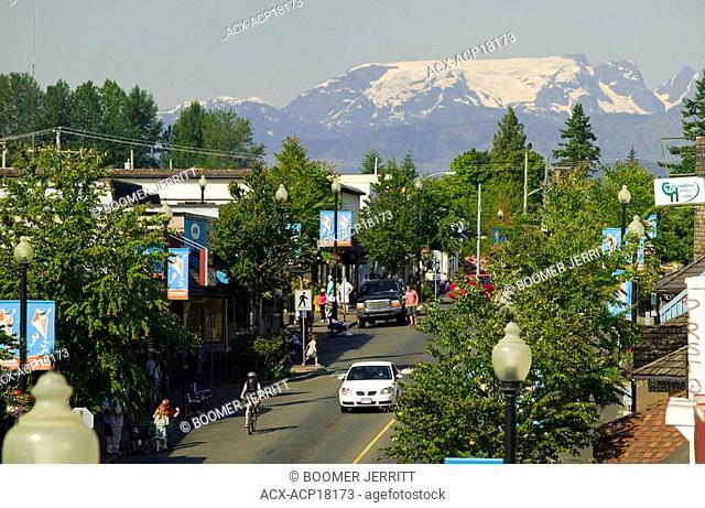 The Comox Glacier overlooks the main street of downtown Courtenay, Comox Valley, Vancouver Island, British Columbia, Canada