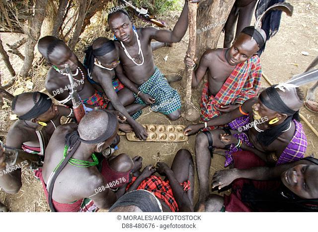 Mursi boys. Omo valley. South Ethiopia