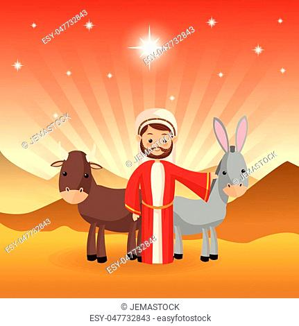 Merry Christmas and holy family concept represented by joseph donkey and cow icon over desert landscape. Colorfull illustration