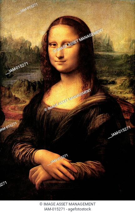 Mona Lisa' also called 'La Gioconda' or 'La Joconde', c1503–1506. Oil on wood. Leonardo da Vinci 1452-1519. Portrait of Lisa Gheradini