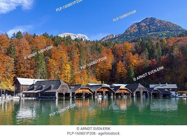 Wooden boathouses along Königssee / Kings lake in autumn, Berchtesgaden National Park, Bavarian Alps, Bavaria, Germany