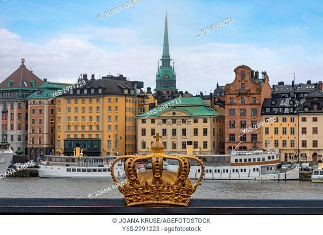 Gilded Crown on Skeppsholmsbron, Stockholm, Sweden, Europe